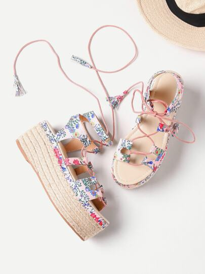 Calico Print Lace Up Espadrille Flatform Sandals