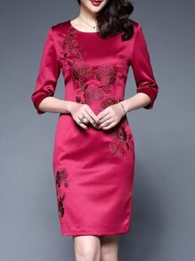 Red Flowers Embroidered Sheath Dress