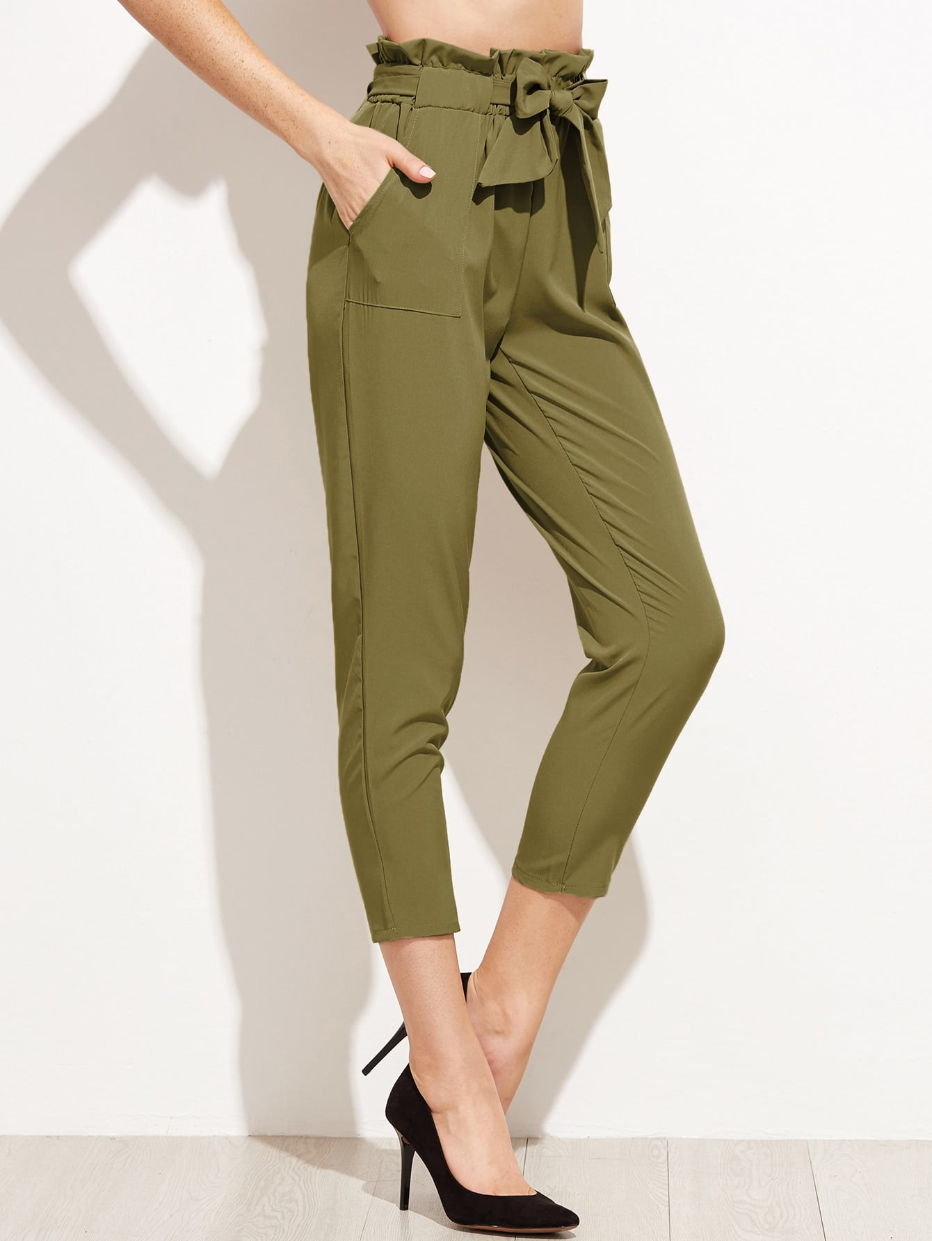 Ruffle Waist Self Belt Tailored Pants -SheIn(Sheinside)