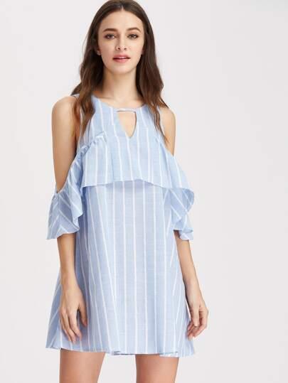 Open Shoulder Vertical Striped Ruffle Dress