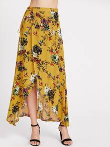 Falda Maxi cruzada con estampado floral