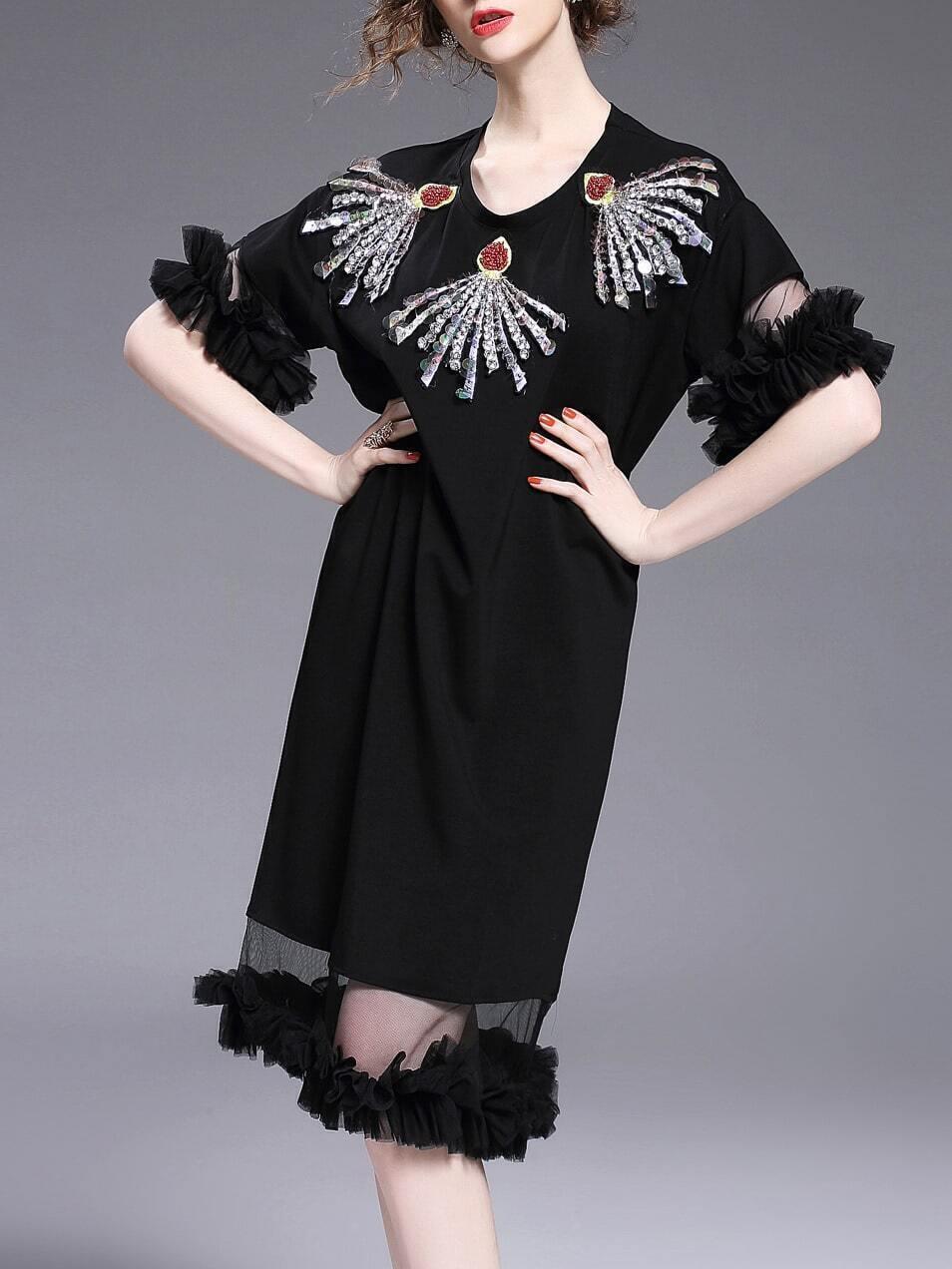 Фото Ruffle Sequined Beading Sheer Dress. Купить с доставкой