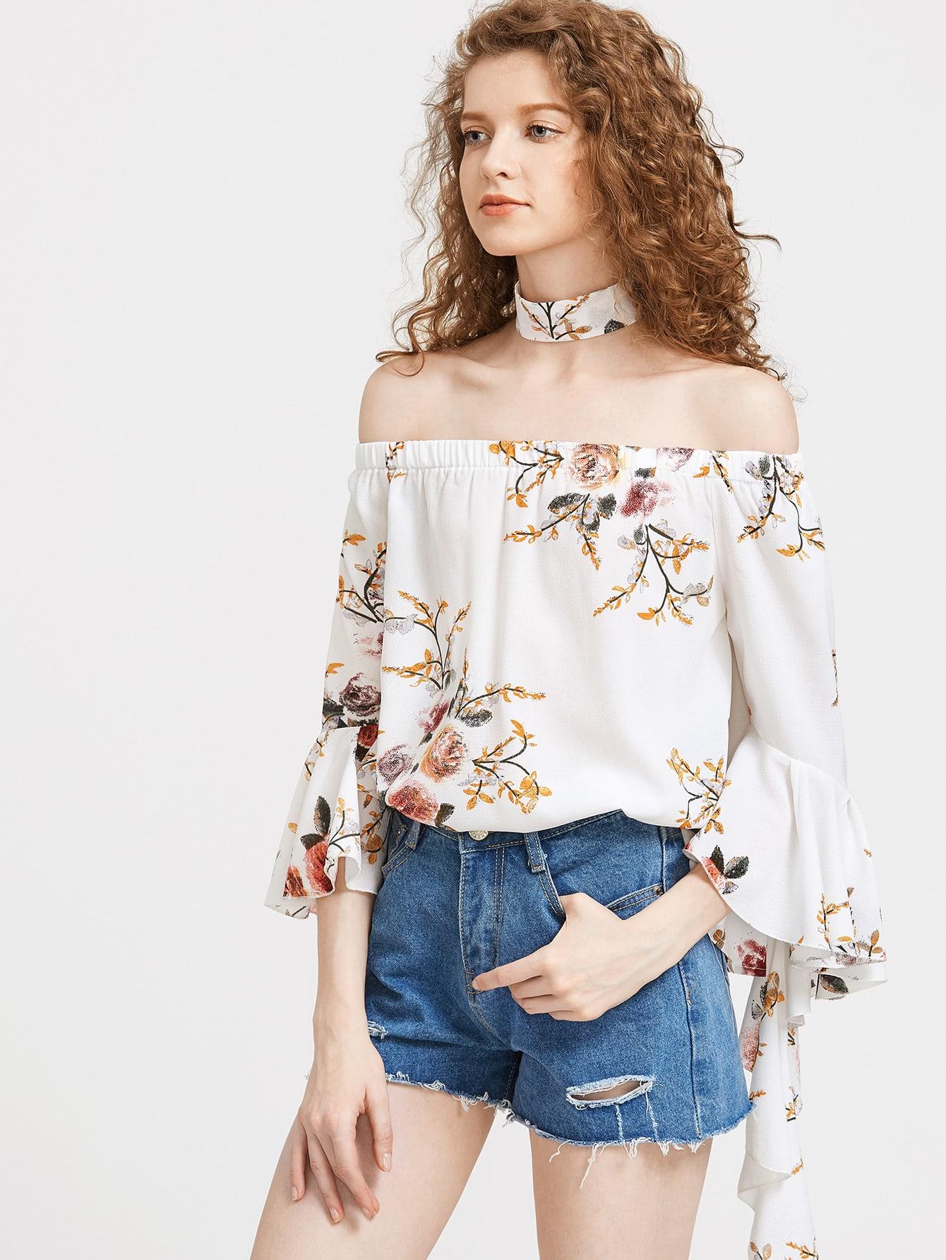 Фото Bardot Flute Sleeve Florals Top With Choker. Купить с доставкой