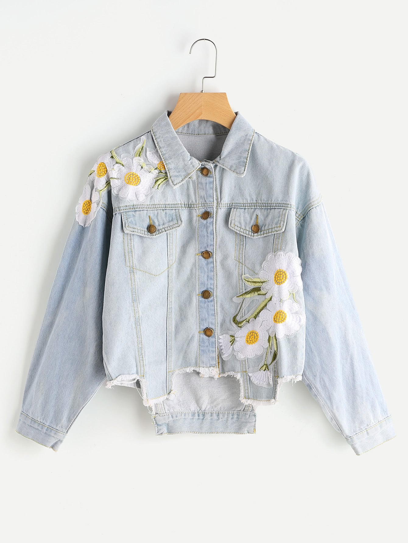 Image of Appliques Raw Hem Denim Jacket