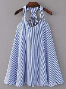Vestido de rayas con tiras y espalda abierta
