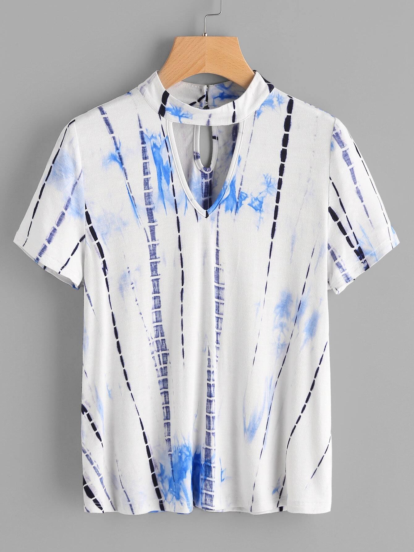 Фото Water Color Cutout Neck T-shirt. Купить с доставкой