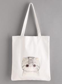 Модная льняная сумка с принтом