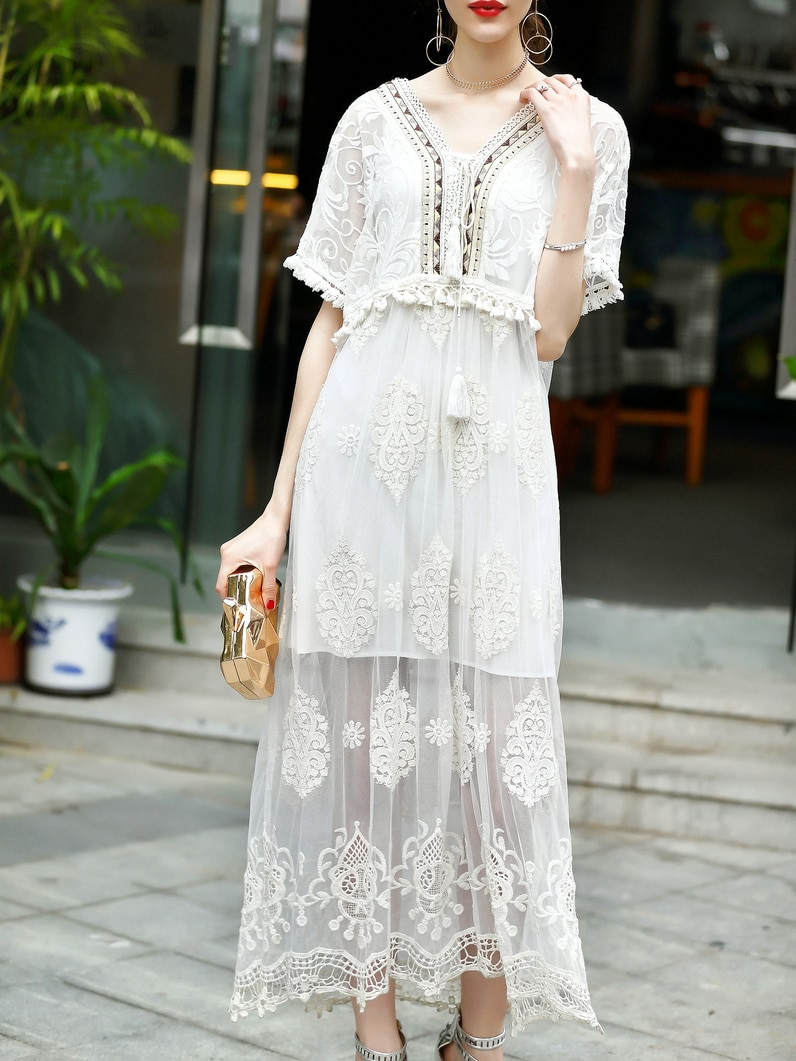 Фото V Neck Fringe Gauze Embroidered Sheer Dress. Купить с доставкой