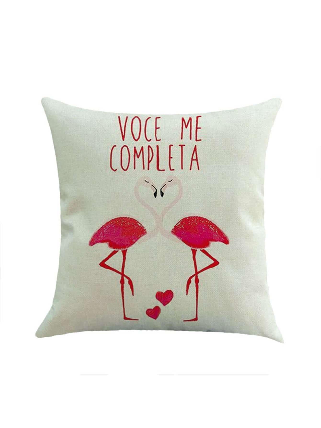 Couple Flamingo Print Pillowcase Cover