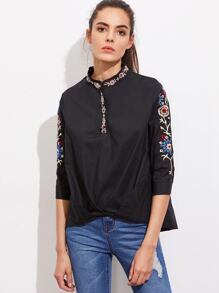 Half Placket Gathered Hem Embroidered Shirt
