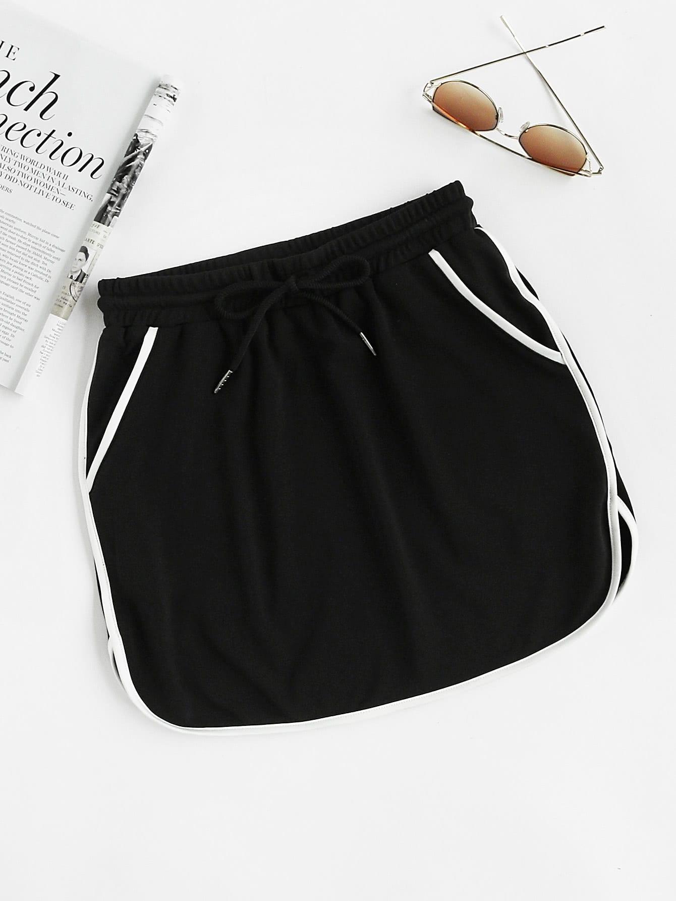 Фото Contrast Binding Dolphin Hem Drawstring Skirt. Купить с доставкой