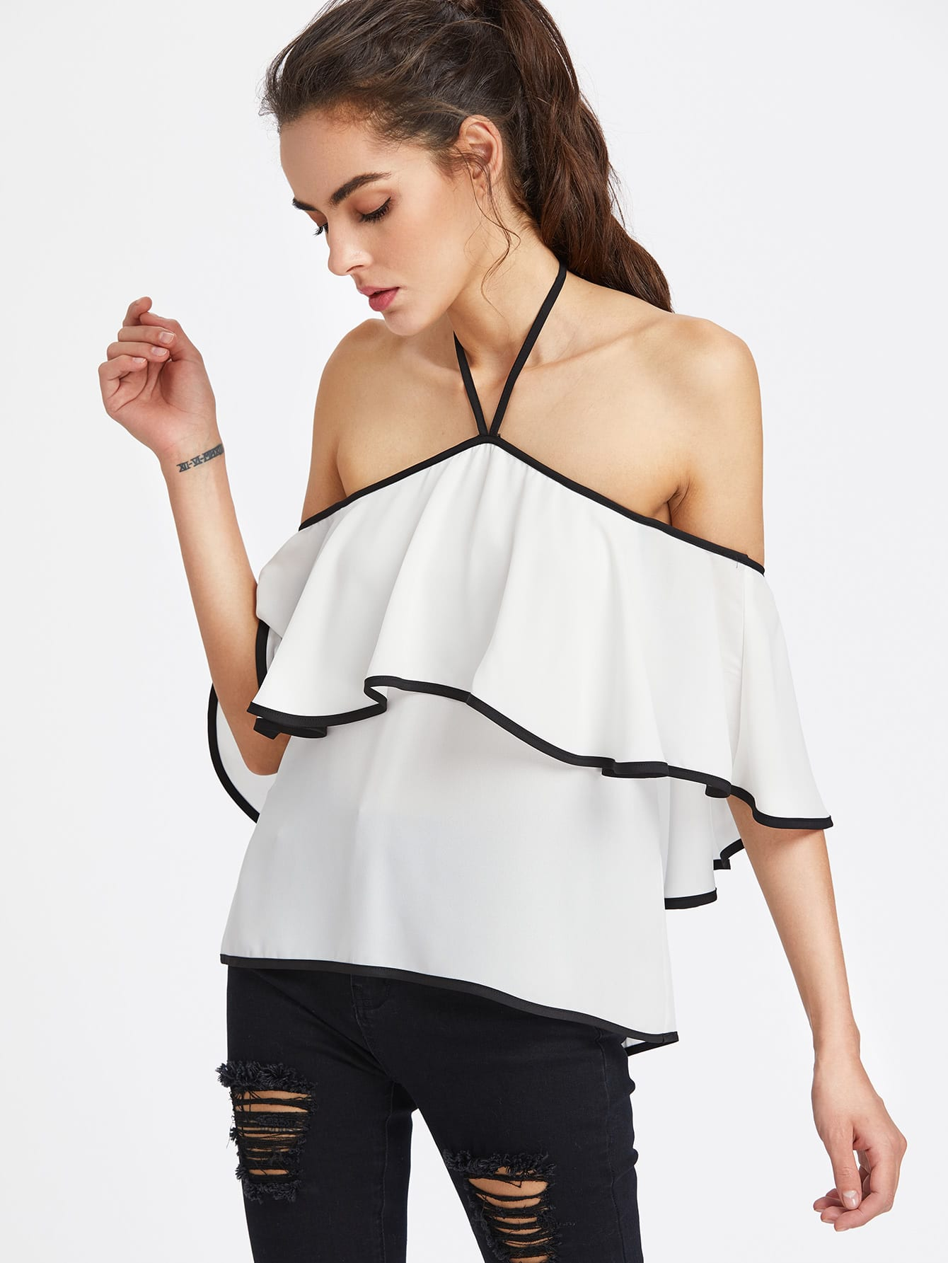 Contrast Binding Flounce Halter Bardot Top mesh contrast flounce sleeve top