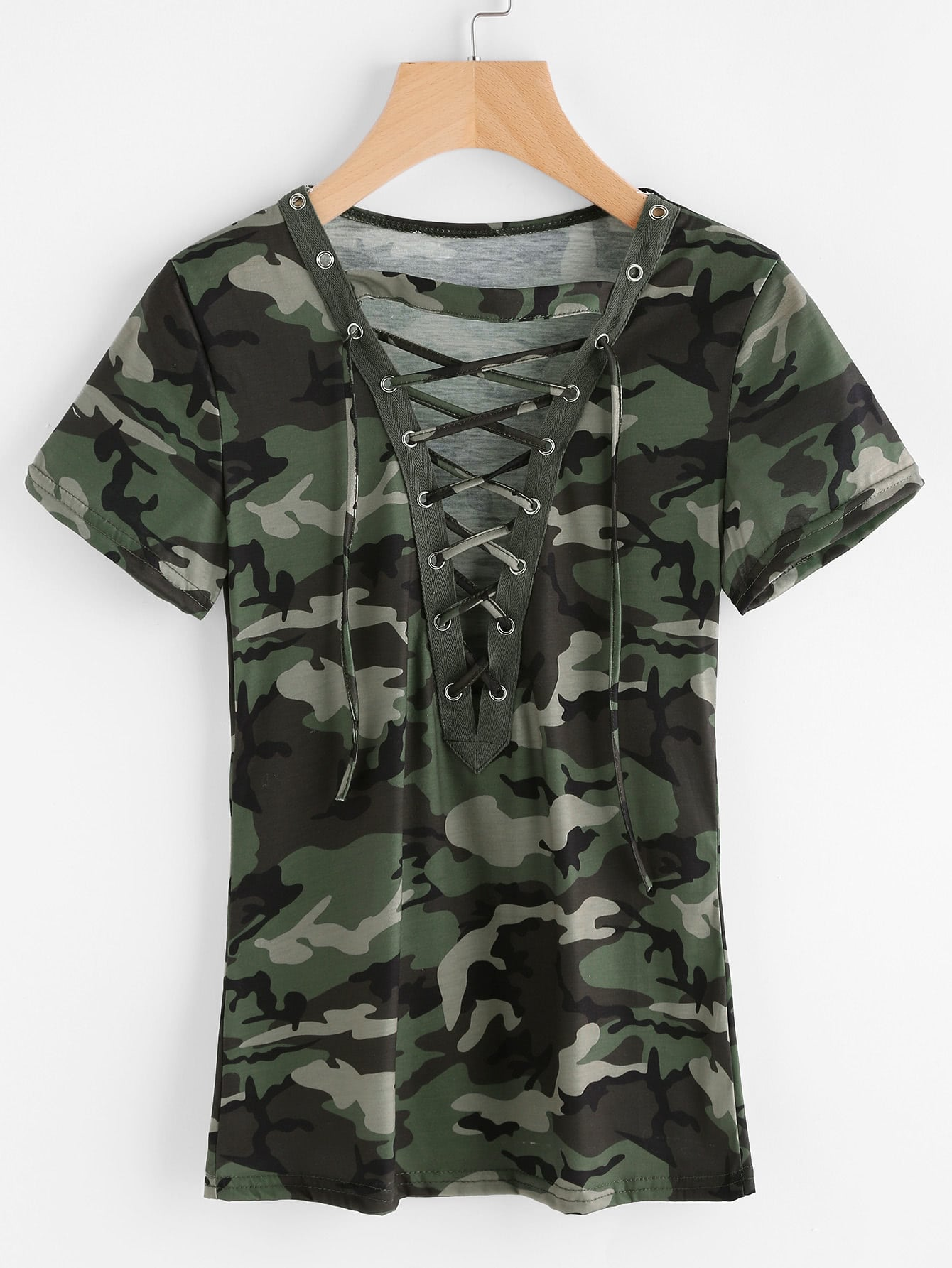 Camouflage Print Lace Up Front Tee lace up front fit