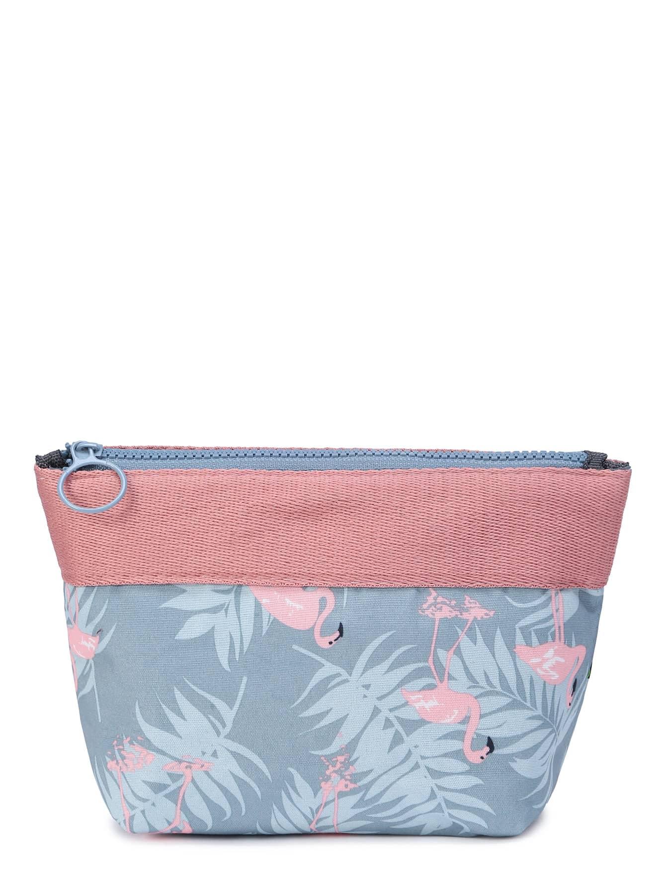Flamingo And Leaf Print Makeup Bag