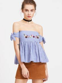 Vertical Striped Embroidery Self Tie Top