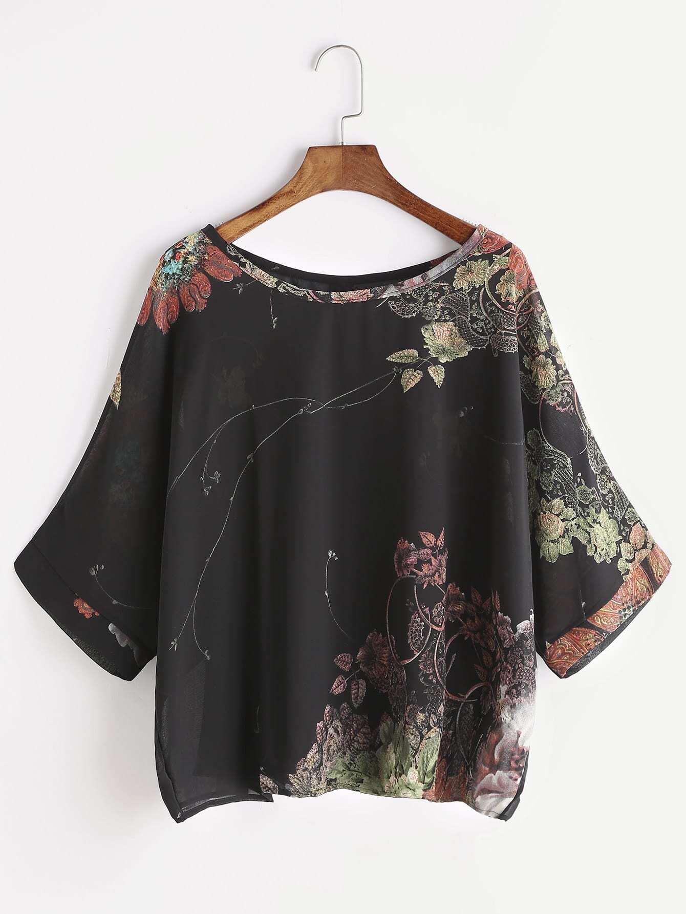 Фото Florals Button Back Chiffon Blouse. Купить с доставкой