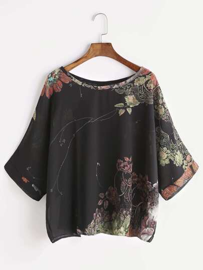 Florals Button Back Chiffon Blouse