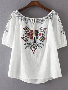 Boat Neckline Aztec Embroidery Drawstring Blouse