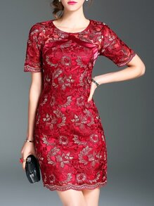 Red Gauze Flowers Embroidered Dress