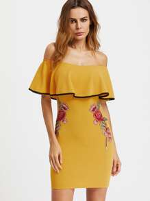 Flounce Layered Neckline Appliques Bodycon Dress