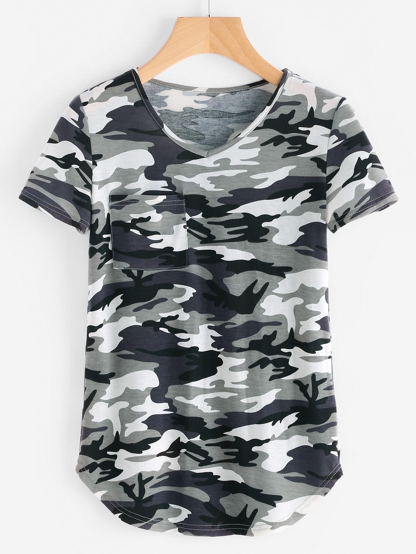 Фото Curved Hem Camo T-shirt. Купить с доставкой