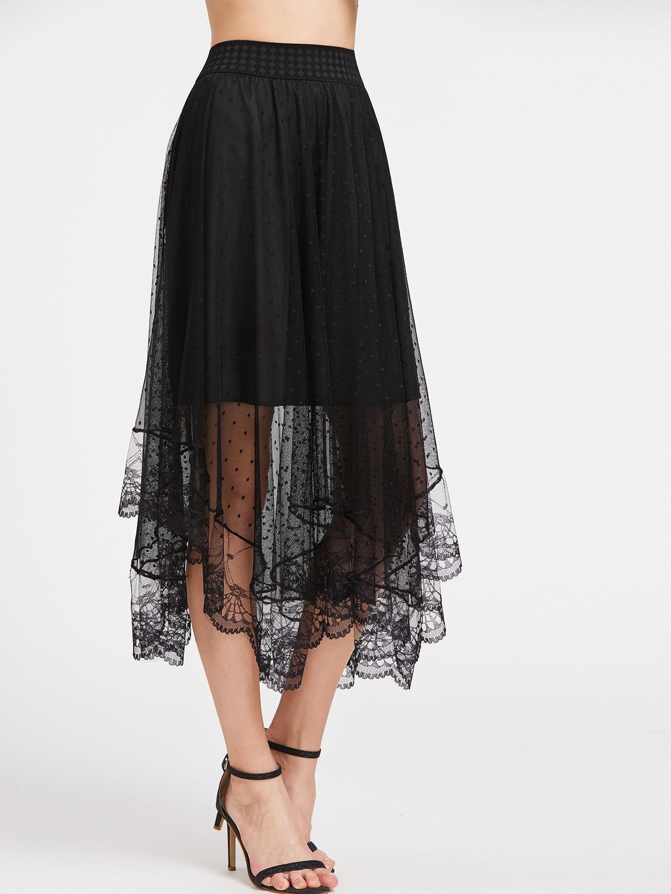 Фото Sheer Dobby Mesh Overlay Skirt. Купить с доставкой