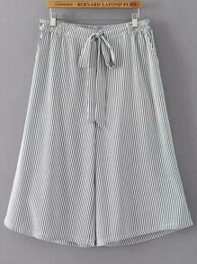 Tie Waist Vertical Striped Wide Leg Pants