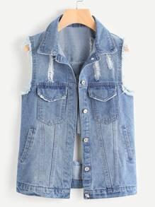 Distressed Single Breasted Denim Vest