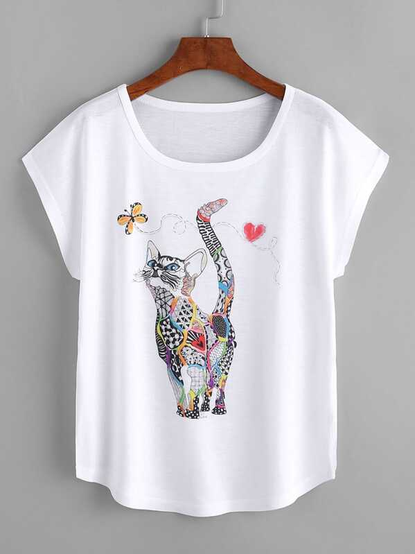 Cat Print Dolman Sleeve Tee, null