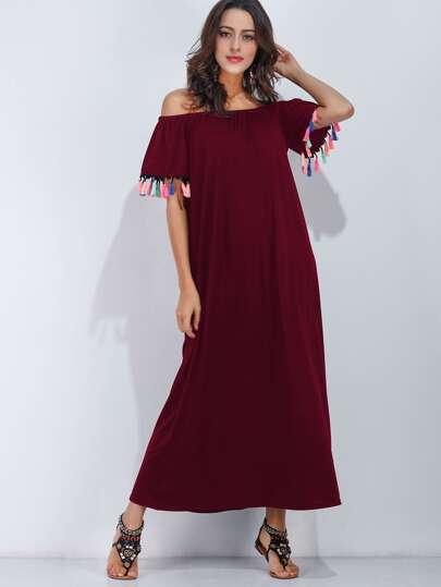 Bardot Fringe Trim Full Length Dress