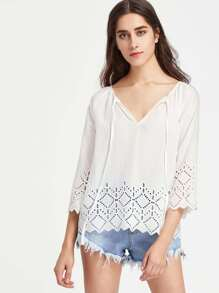 Tie Neck Eyelet Embroidered Tunic Top