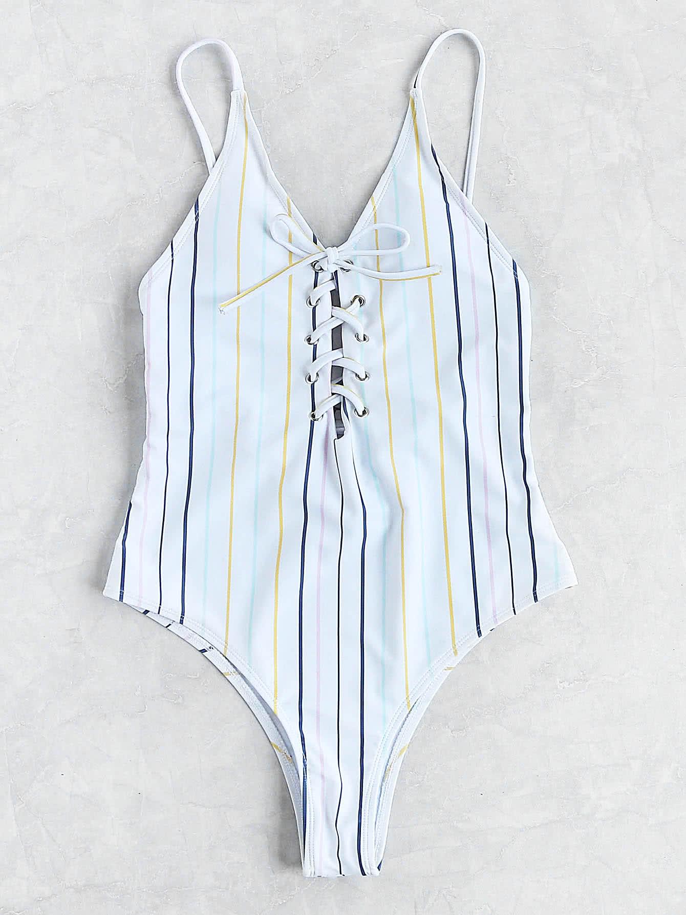 Фото Striped Lace Up Cami Swimsuit. Купить с доставкой
