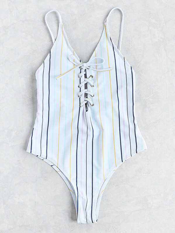 Striped Lace Up Cami Swimsuit, null