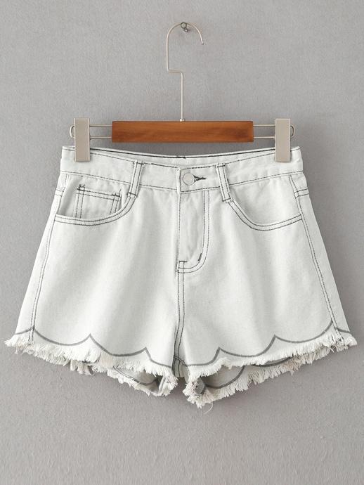 Фото Raw Hem Denim Shorts. Купить с доставкой