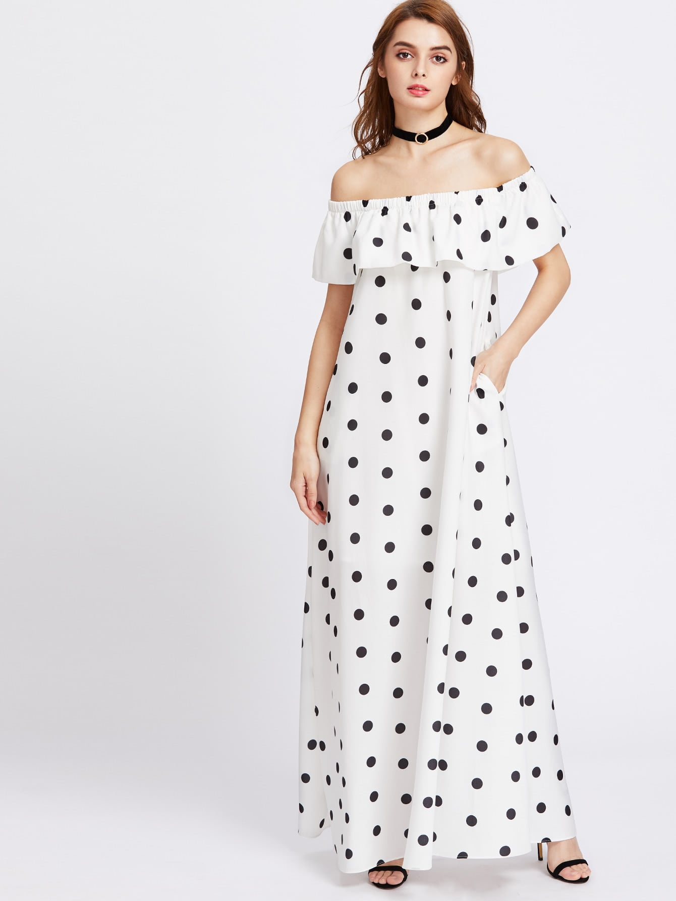 Фото Polka Dot Print Flounce Off Shoulder Tent Dress. Купить с доставкой