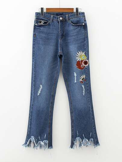 Raw Hem Flower Embroidery Jeans