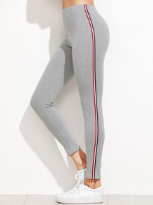 Leggings de rayas laterales - gris claro
