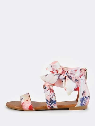 Floral Print Bow Sandals BLUSH