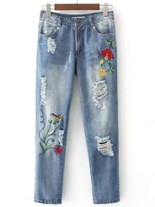 Floral Embroidered Ripped Detail Jeans