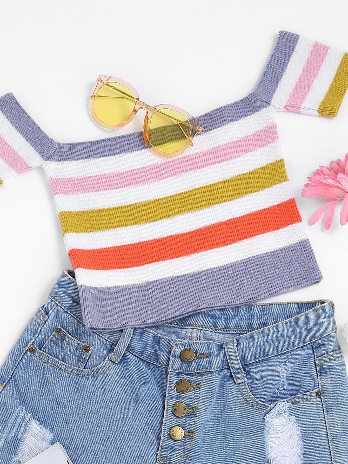 Фото Striped Crop Knit Bardot Top. Купить с доставкой
