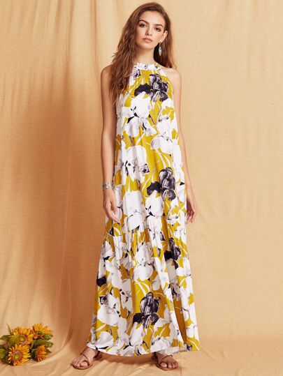 Flower Print Halter Neck Full Length Beach Dress