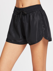 Drawstring Waist Dolphin Hem Sports Shorts