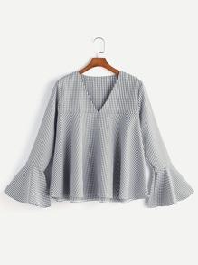 V Neckline Fluted Sleeve Gingham Top