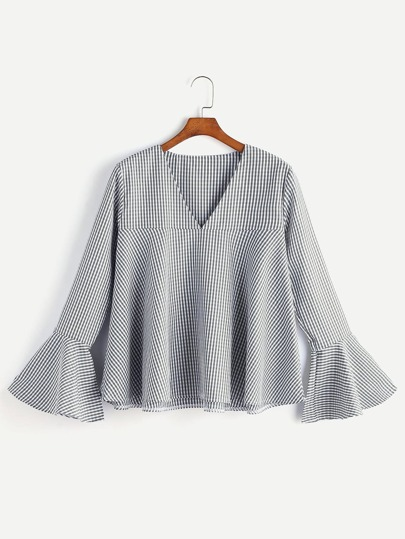 V Neckline Fluted Sleeve Gingham Top