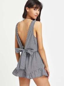 Plunged Gingham Bow Tie Back Romper