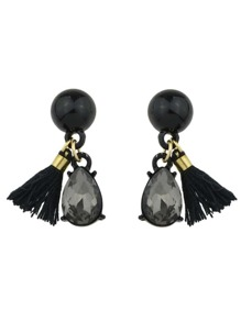 Black Color Rhinestone Thread Tassel Drop Earrings