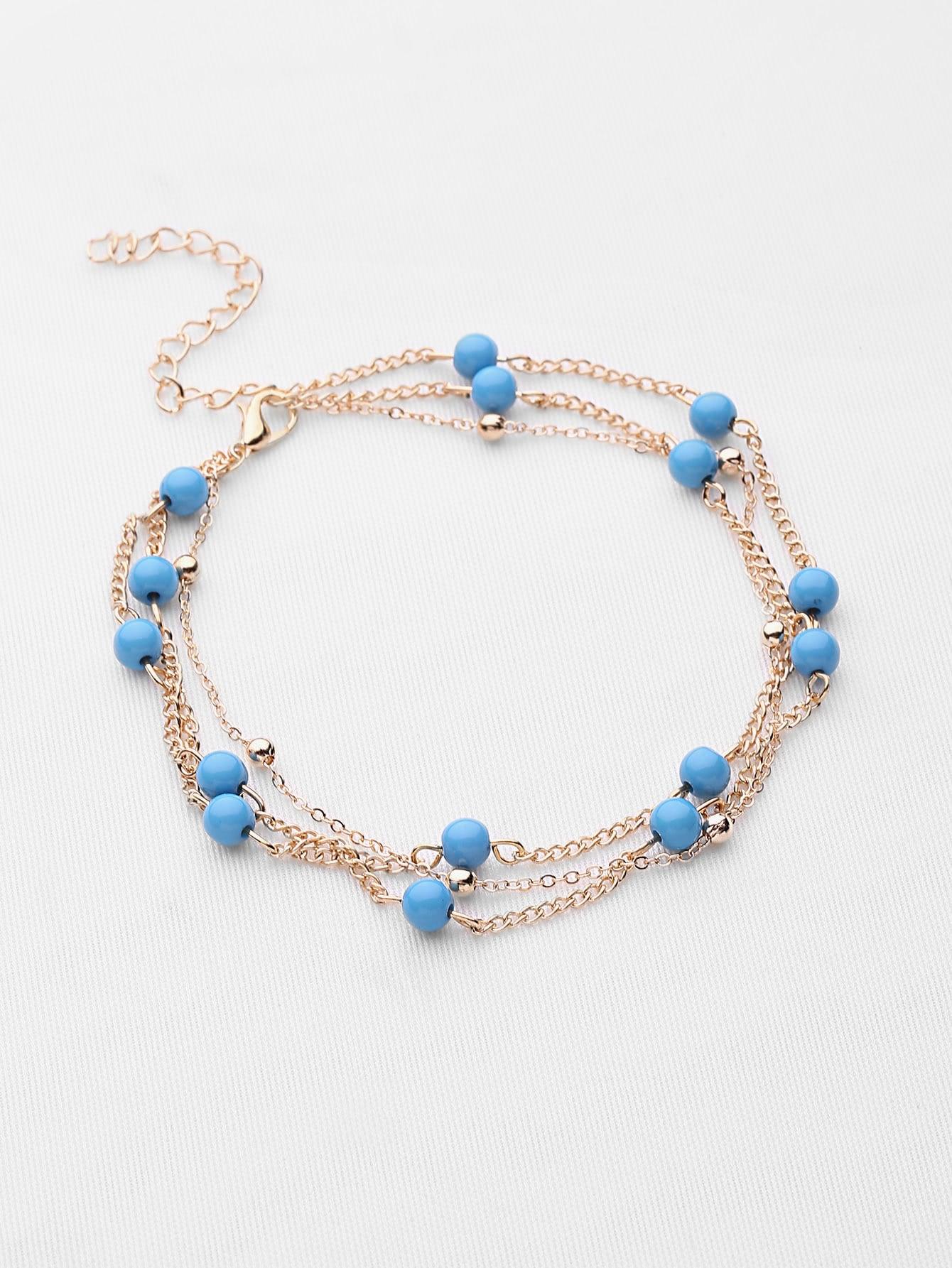 Фото Contrast Beaded Detail Chain Bracelet. Купить с доставкой