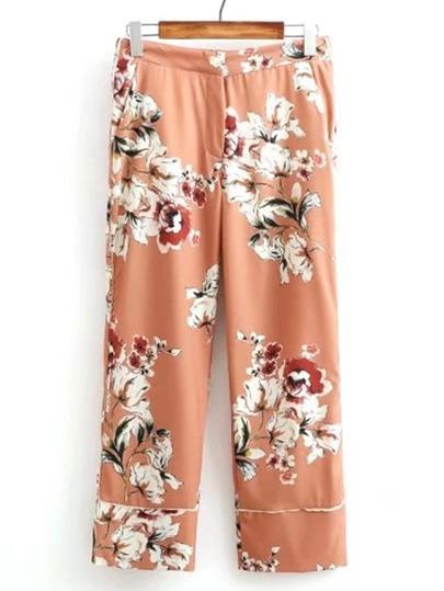 Pantalones con pernera ancha con estampado floral