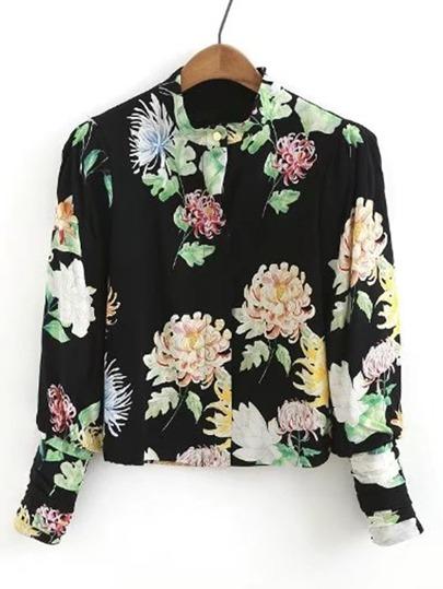 Band Collar Gigot Sleeve Floral Blouse