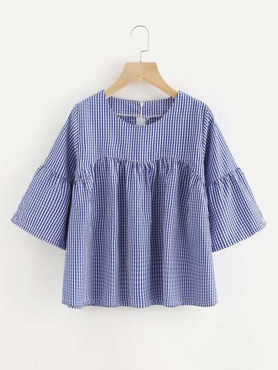Gingham Zipper Back Smock Blouse